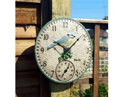 Blue Tit Wall Clock & Thermometer