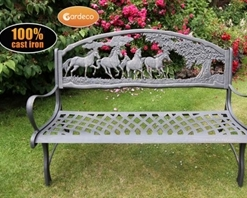 Gardeco Cast Iron Bench With Horses